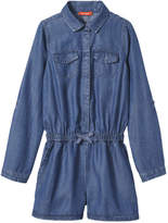 Joe Fresh Kid Girls' Denim Romper, Medium Wash (Size XL)