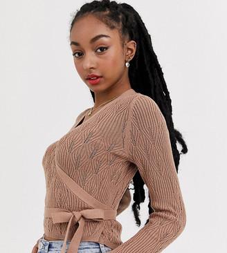 Asos DESIGN Petite pointelle wrap jumper