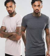 Asos Muscle Fit Longline T-Shirt 2 Pack Save