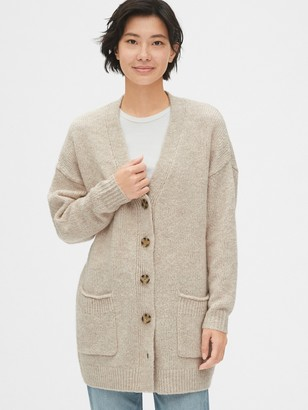 Gap Wool-Blend Button-Front Cardigan Sweater