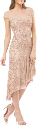 JS Collections Floral Beaded Illusion Mesh Gown