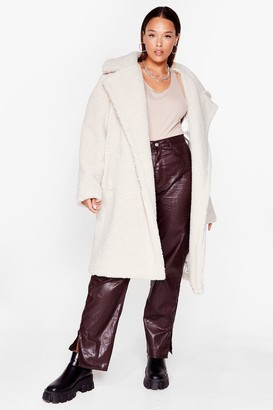 Nasty Gal Womens I Won't Fur-get You Plus Faux Fur Coat - White - 22