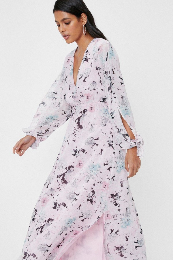 Thumbnail for your product : Nasty Gal Womens Chiffon Floral Slit Maxi Dress - Blue - 4