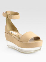 Stella McCartney Faux Suede Glass Wedge Sandals