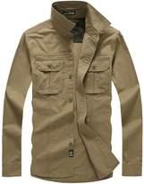 QZUnique Men's Casual Outdoor Long Sleeve Button Down Chest Pockets Cotton Shirt L