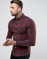 Asos Skinny Check Shirt In Red