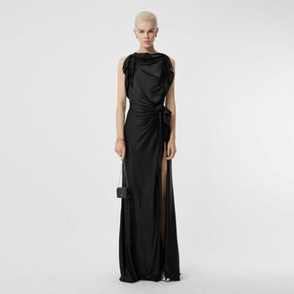 Burberry Tie Detail Stretch Jersey Gown