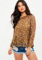 Missguided Brown Feather Sheer Chiffon Blouse
