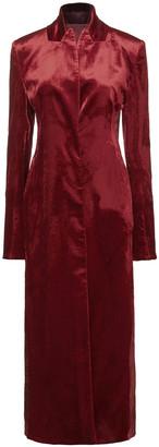 Ann Demeulemeester Paneled Twill, Velvet And Crinkled-satin Coat