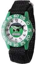 Marvel Emoji Kids' Hulk Green Plastic Time Teacher Watch, Black Hook and Loop Nylon Strap with Black Backing