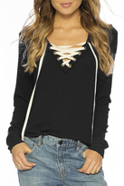 Peace Love World Lace Up Comfy Top