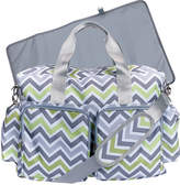 Trend Lab Green & Gray Chevron Deluxe Duffel Diaper Bag
