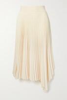 Thumbnail for your product : Joseph Swinton Asymmetric Pleated Crepe Midi Skirt - Ivory
