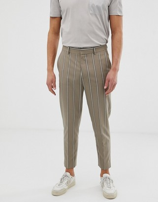 BEIGE Asos Design ASOS DESIGN tapered crop smart pants in with pin stripe