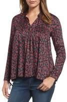 Velvet by Graham & Spencer Women's Shirred Woven Print Top