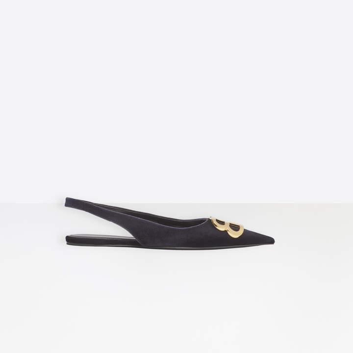 Balenciaga Extreme pointed toe velvet flat slingbacks