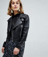 Vero Moda Leather Biker Jacket With Zip Details