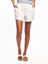 Old Navy Metallic-Print Crinkle-Gauze Shorts for Women