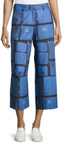 Piazza Sempione Grid-Plaid Cropped Pants, Cobalt/Cornflower