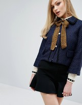 Sister Jane Cropped Jacket With Leopard Chiffon Bow