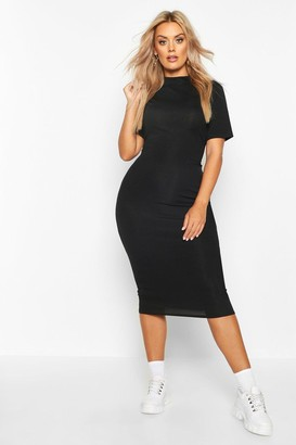 boohoo Plus Rib High Neck Bodycon Dress