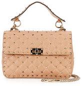Valentino Medium Quilted Leather Shoulder Bag, Beige