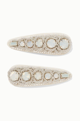 Ranjana Khan Set Of Two Canvas, Silver-tone And Crystal Hair Clips - White