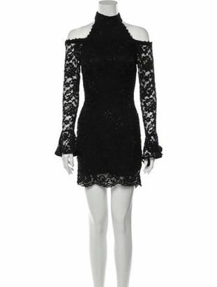 Jovani Mock Neck Mini Dress Black