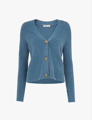 Whistles Ribbed cotton-blend cardigan