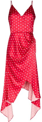 HANEY Olivia asymmetric polka dot slip dress