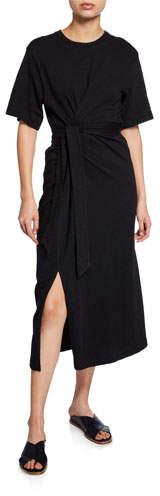 Vince Cotton Tie-Waist Midi Wrap Dress