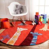 nuLoom Handmade Bright Giraffes Kids Nursery Red Rug (5' Round)