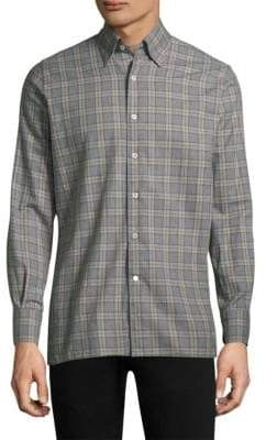 Canali Plaid Cotton Button-Down Shirt