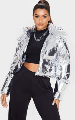PrettyLittleThing Silver Metallic Crop Puffer Jacket