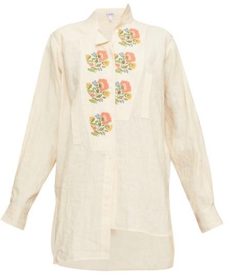 Loewe Asymmetric Floral Cross-stitch Linen Shirt - Cream Multi