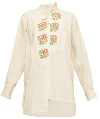 Loewe Asymmetric Floral Cross-stitch Linen Shirt - Womens - Cream Multi