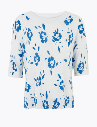 Marks and Spencer Linen Floral Relaxed Knitted Top