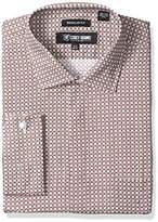 Stacy Adams Men's Big and Tall Abstract Floral Checked Classic Fit Dress Shirt