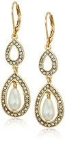 Anne Klein Gold-Tone Pearl and Crystal Leverback Drop Earrings