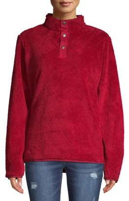Athletic Works Women's Athleisure 1/4 Button Sherpa Pullover