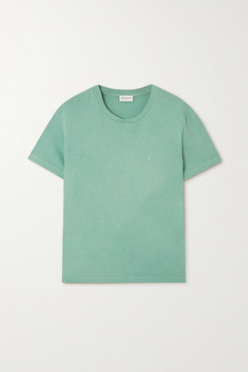 Saint Laurent Distressed Embroidered Cotton-jersey T-shirt - Light green