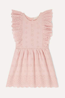 LoveShackFancy Kids - Sylvie Ruffled Broderie Anglaise Cotton Dress - Pink