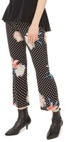 Topshop Women's Floral Dot Flare Trousers
