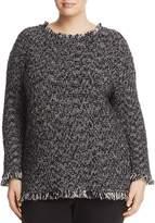 NIC+ZOE Plus Misty Marled Fringe Trim Sweater
