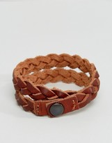 Jack and Jones Plaited Leather Cuff