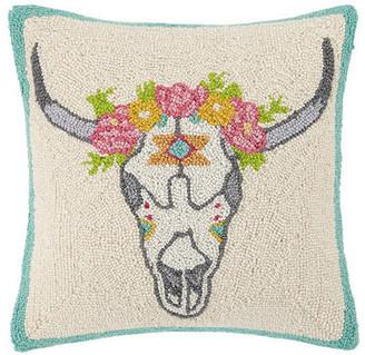 Peking Handicraft, Inc. Floral Skull Hook Pillow
