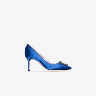 Manolo Blahnik blue Hangisi 70 jewel buckle satin pumps