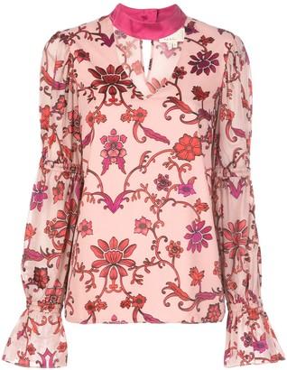 Nicole Miller choker floral blouse