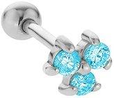 FreshTrends 2mm Aquamarine (March) Three Gem 14K White Gold Cartilage Stud Earring