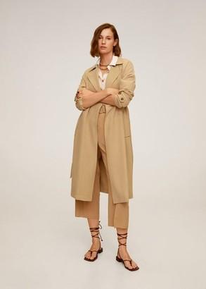 MANGO Flowy oversize trench beige - S - Women